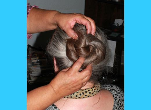 Amy volunteered during  our  Latest  Regency  Hairstyling Meeting